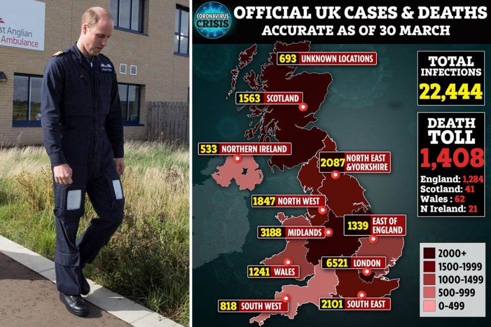 Coronavirus news LIVE: 1,408 dead in UK as Prince William hopes to join frontline Covid-19 fight