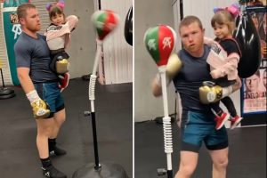 Watch super dad Canelo Alvarez train his punching while carrying his daughter in adorable video