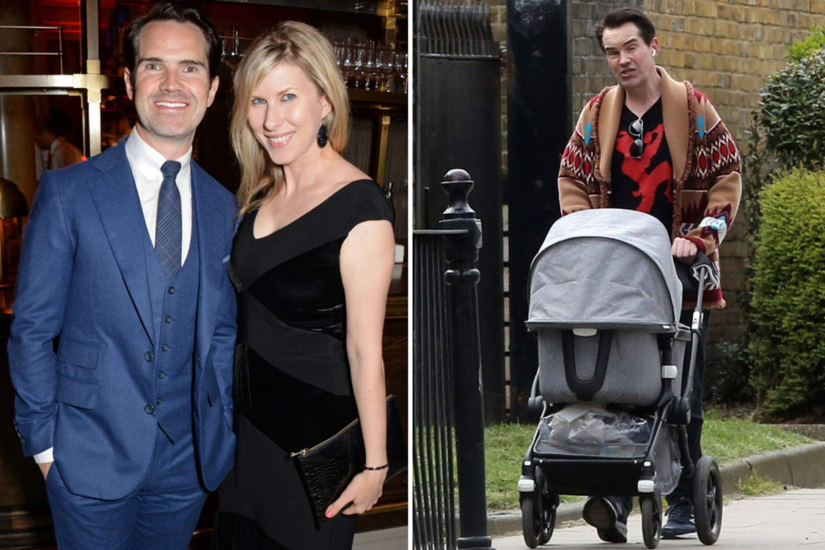 Comedian Jimmy Carr spotted pushing a pram during stroll in London