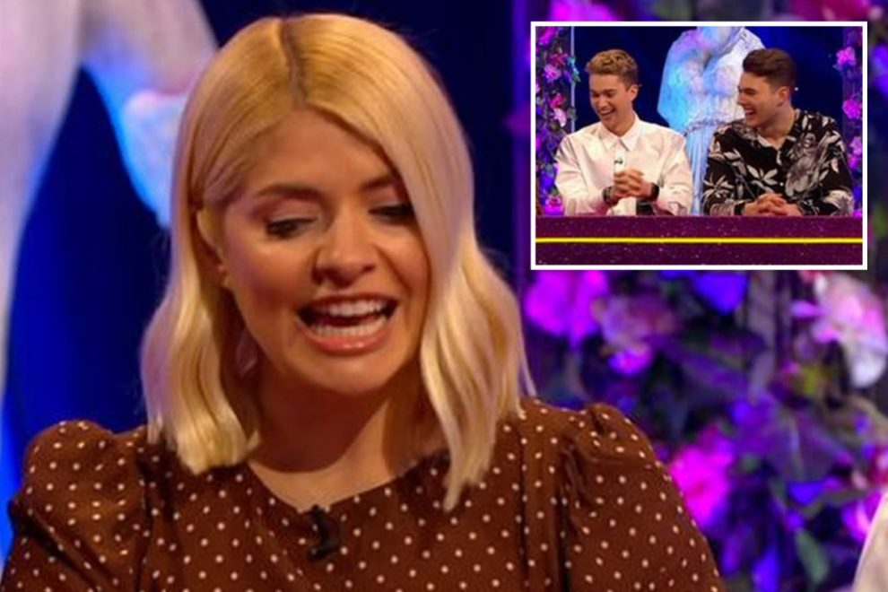 Holly Willoughby accused of forgetting AJ and Curtis Pritchard's names on Celeb Juice in hilarious blunder