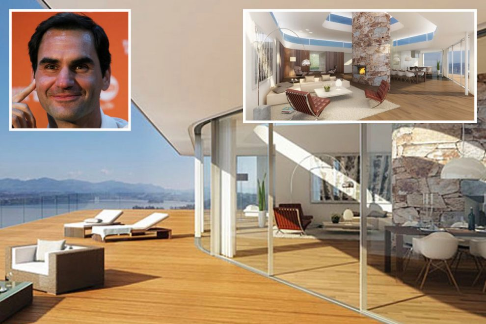 Inside Roger Federer's £6.5m custom-made glass house with floor-to-ceiling windows to show off nice views of Lake Zurich