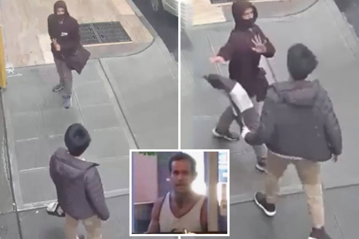Moment racist thug shoves and spits on Asian couple and blames them for coronavirus shouting 'it's your fault'
