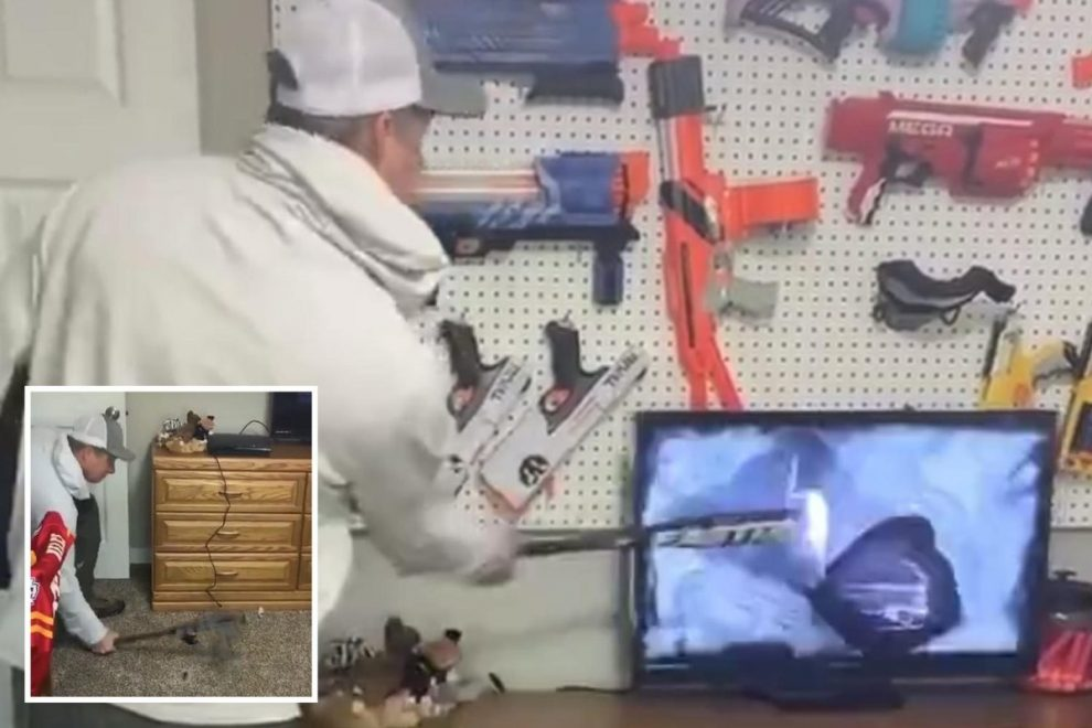 Parents divided as Tik Tok clip shows dad smash kids' TV with a BASEBALL BAT as punishment while children cower in fear