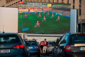 Sparta Prague fans watch football on drive-in cinema screens with beers and snacks… the future for the Premier League?