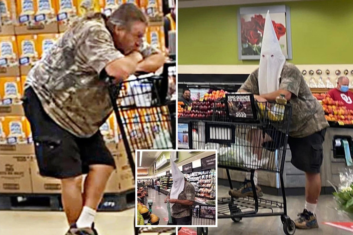 Vile shopper wears Ku Klux Klan hood to grocery store after residents ordered to wear face masks