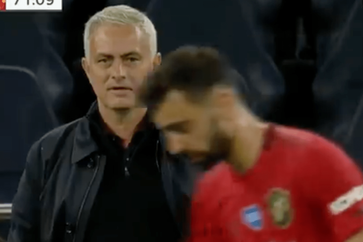 Fans think Jose Mourinho got in Bruno Fernandes' head with cheeky comment from touchline during Tottenham vs Man Utd