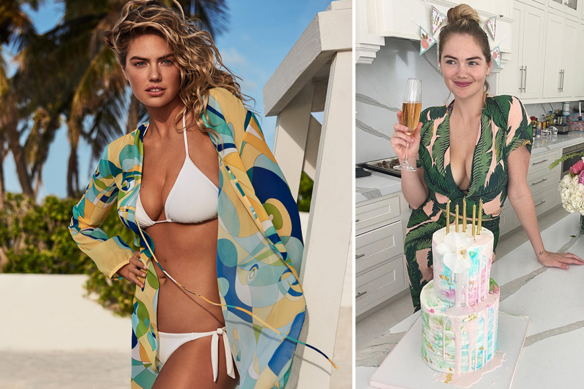 Kate Upton brightens everyone's day in colourful robe for sexy swimwear shoot
