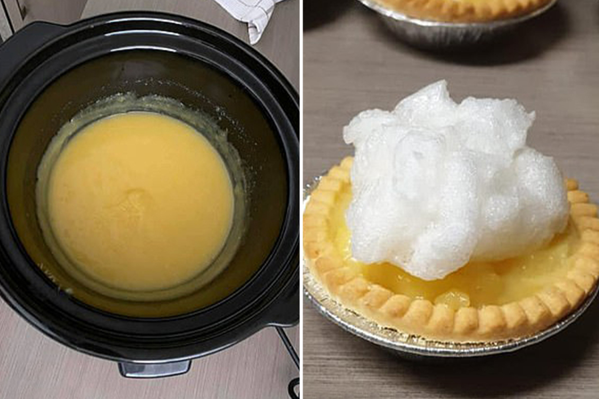 Woman shows how to make lemon meringue pie in the slow cooker and it couldn't be easier