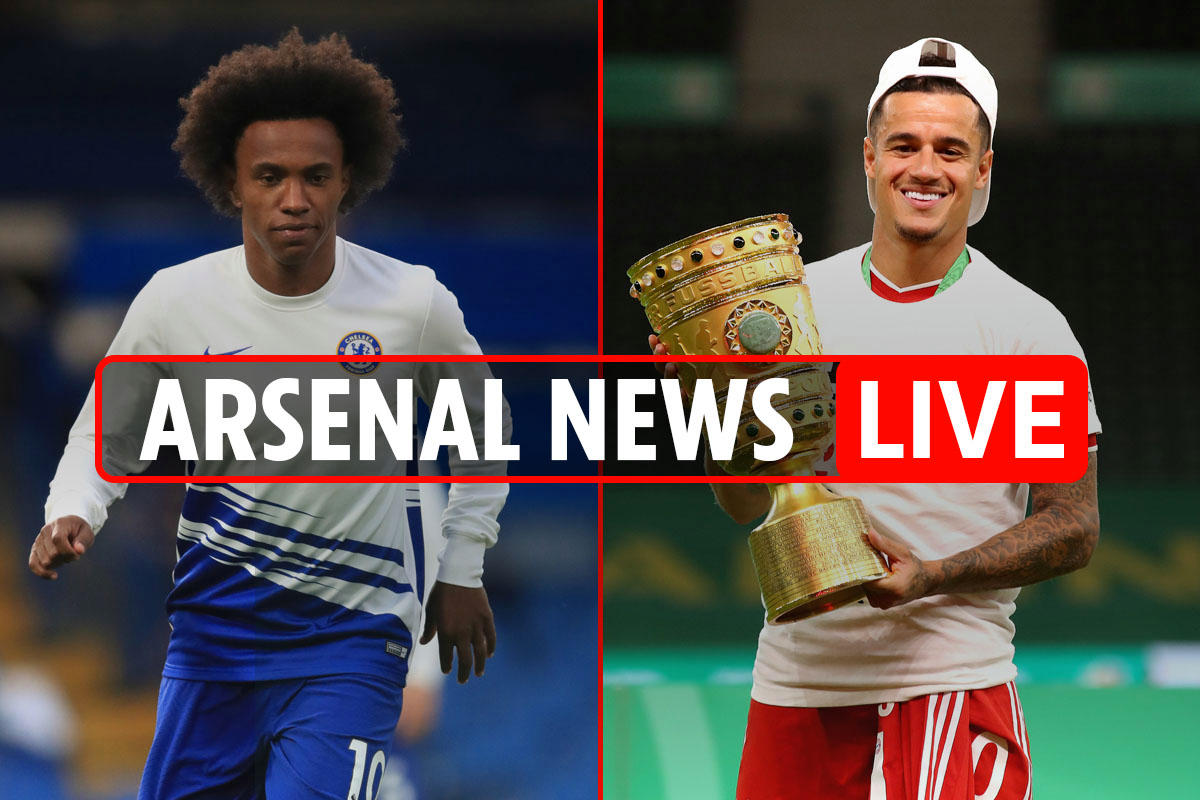 10pm Arsenal transfer news LIVE: Coutinho and Willian double deal, Martinelli OUT until 2021, Partey LATEST