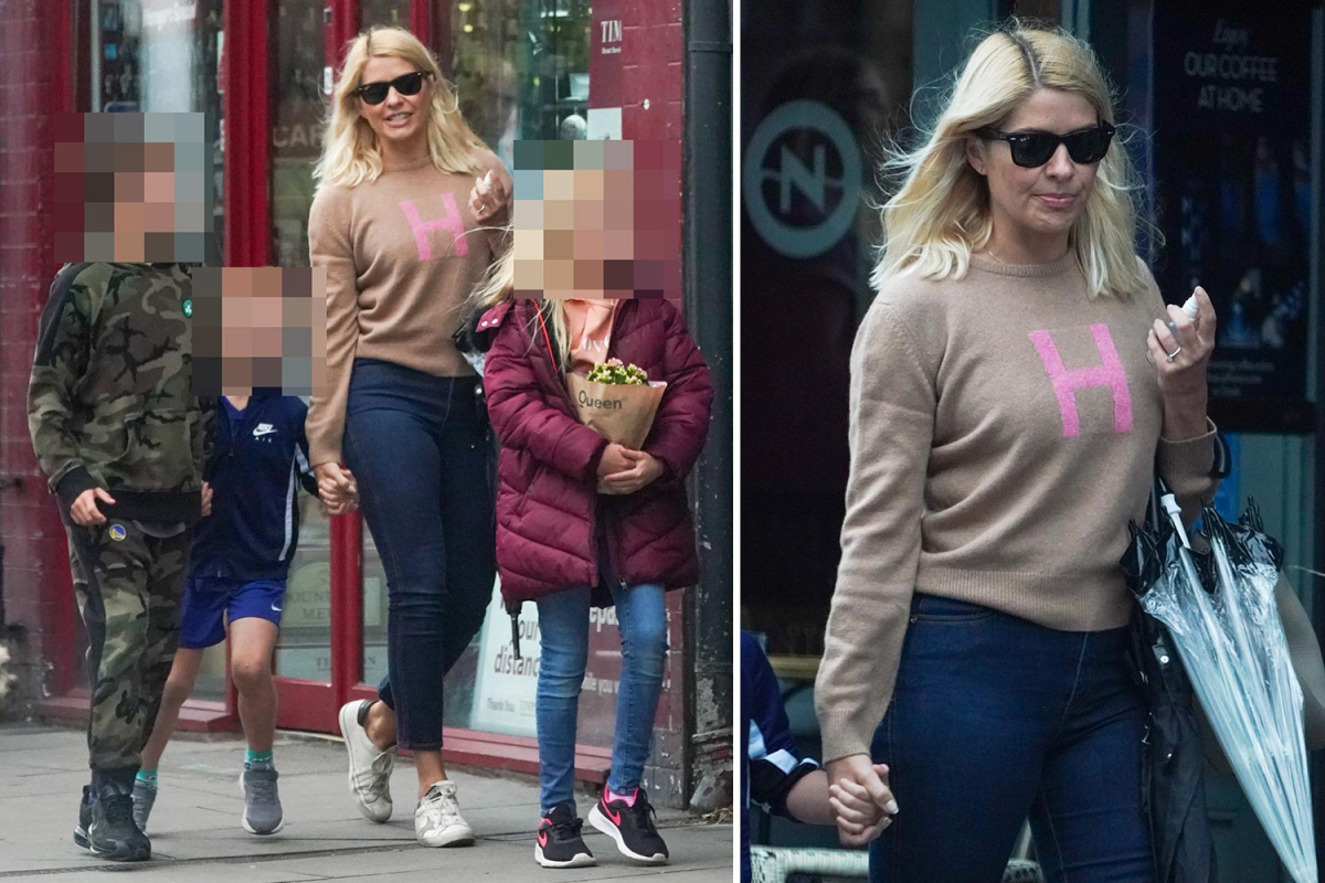 Holly Willoughby heads to the pub with husband Dan and their three children after lockdown rules ease