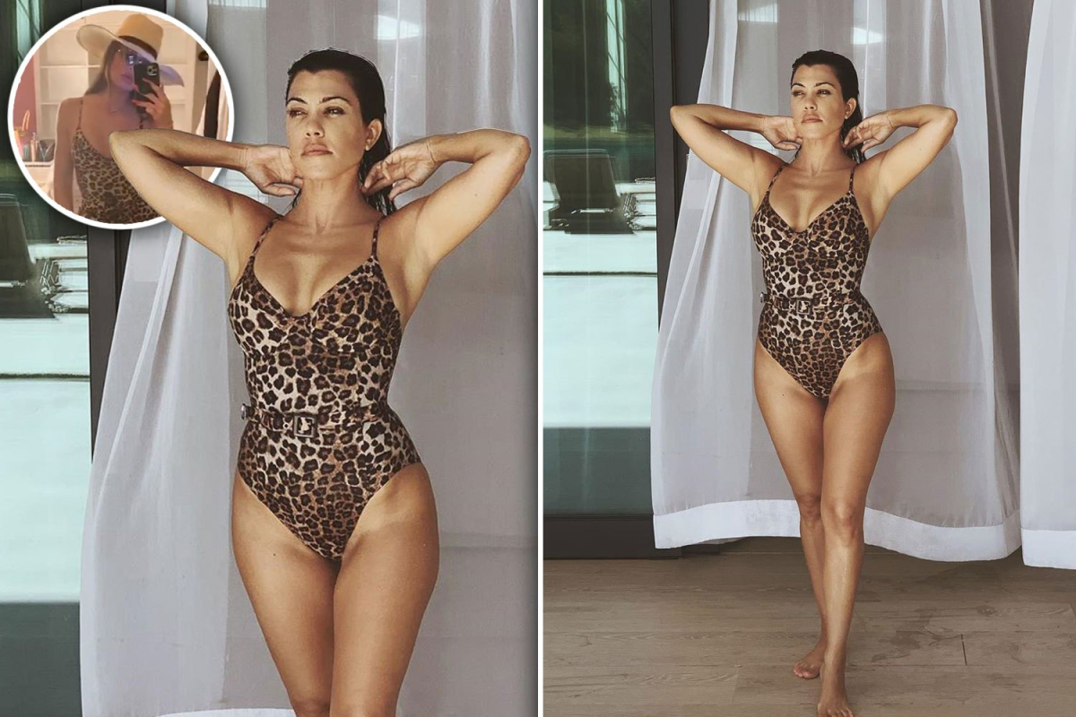 Kourtney Kardashian shows off cleavage and sexy figure in sister Khloe's Good American leopard swimsuit