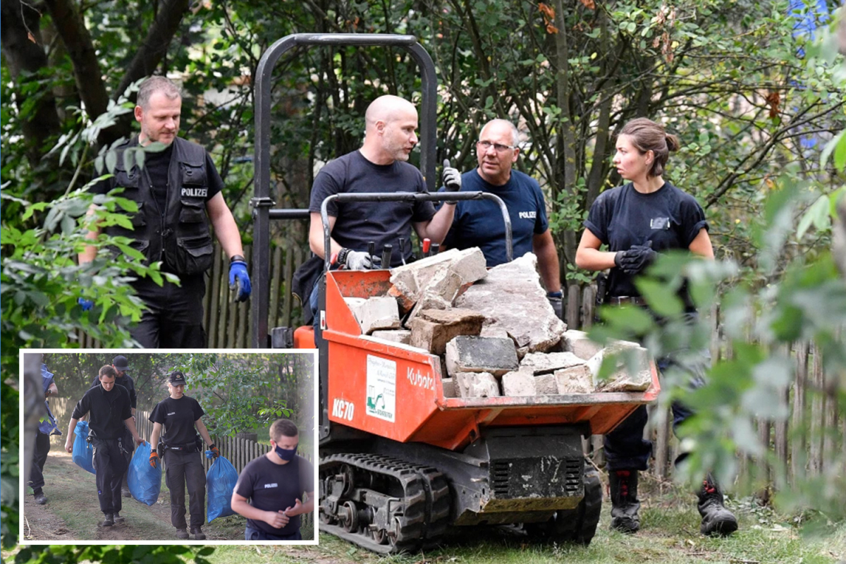 Madeleine McCann suspect's 'secret cellar' left untouched since year tot vanished as cops remove skips full of evidence