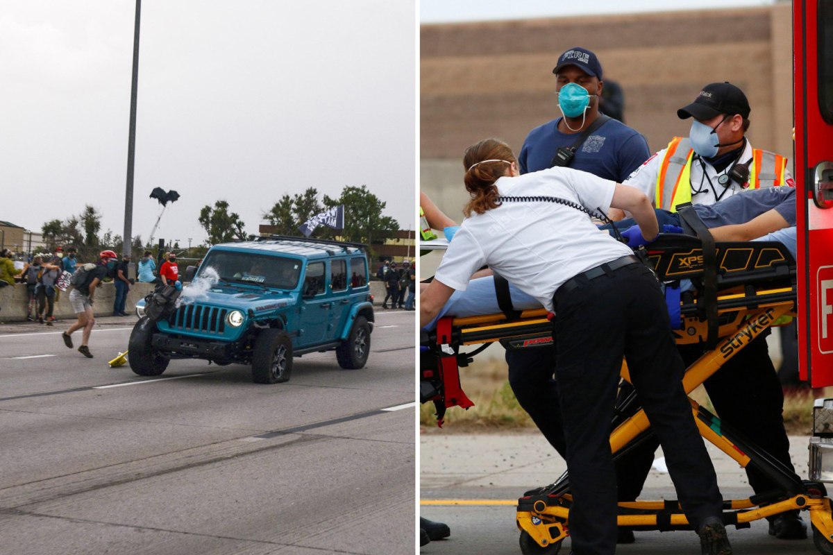 Moment Jeep mows into Black Lives Matter march before protester fires gun, injuring two people in Aurora