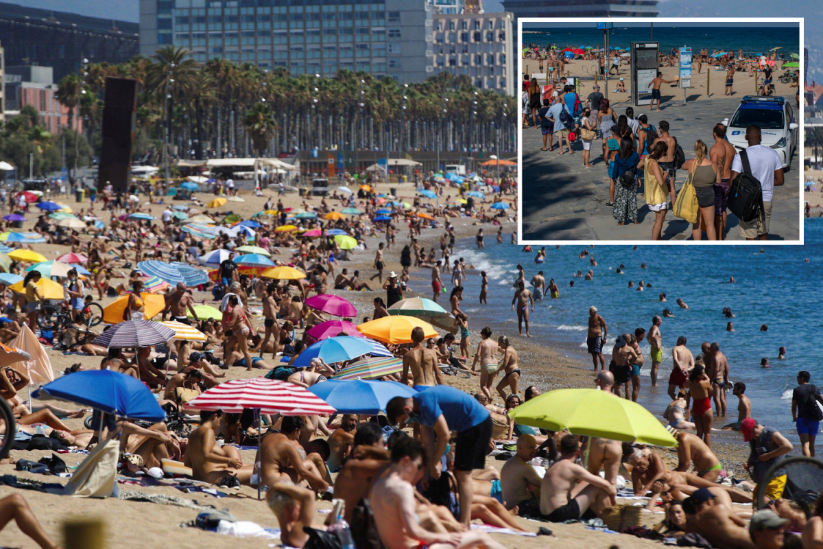 Spain's beaches at bursting point as sunbathers turned away for third weekend – and Brits queue for 2 hours in Benidorm
