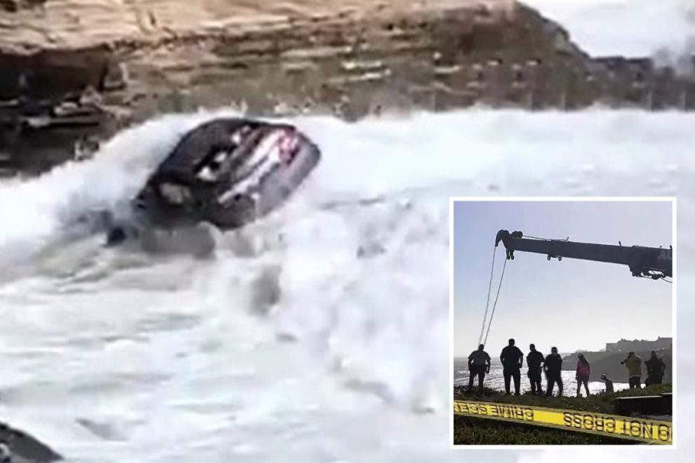 Suspected carjacker drives vehicle off cliff into Pacific Ocean after leading police on 100mph chase in California