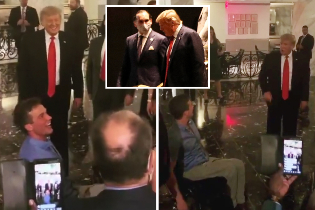 Trump says NC Rep Madison Cawthorn, 24, who beat president's pick is 'awesome' as they meet at fundraiser without masks