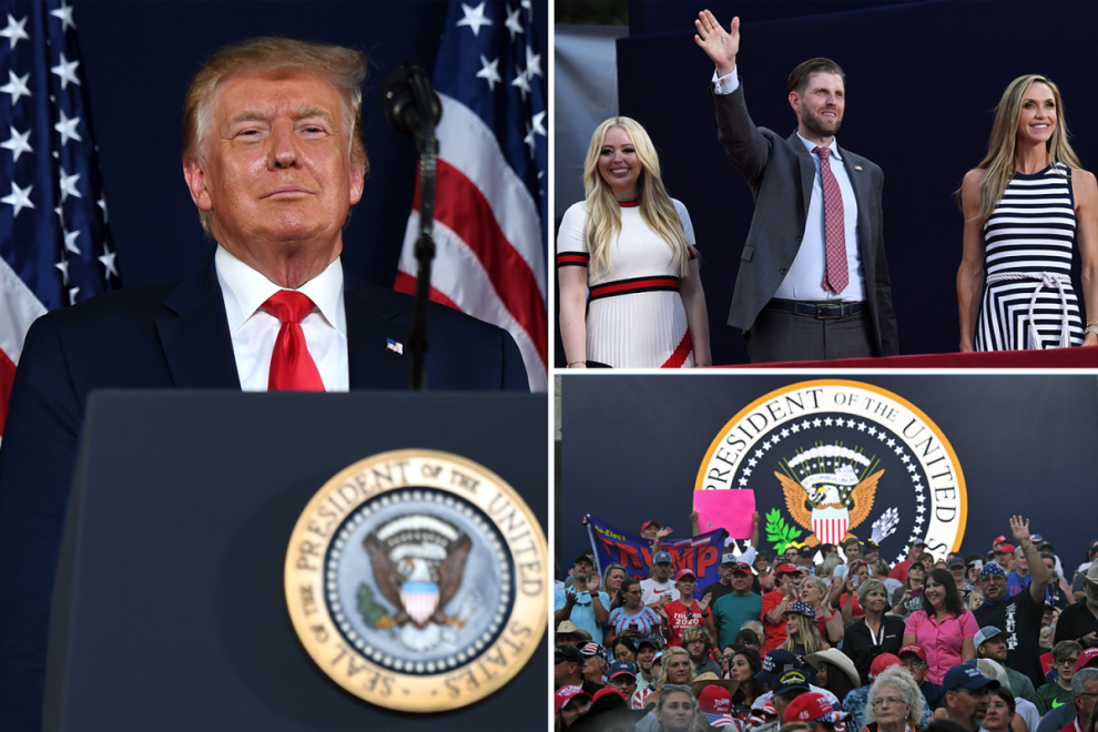 Unmasked crowd watch Trump slam protesters in 4th July speech & announce new statues to be built in 'garden of heroes'