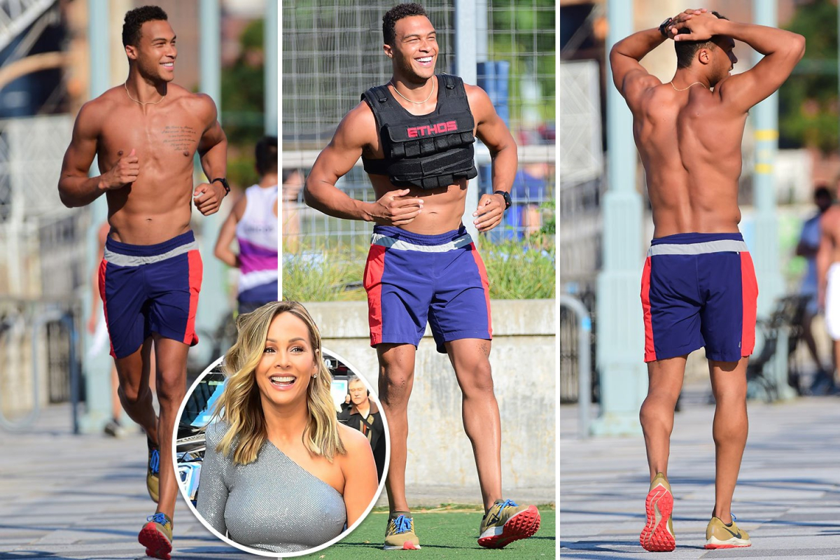 Bachelorette Clare Crawley's 'fiance' Dale Moss goes shirtless in first outing since secret engagement rocked show set