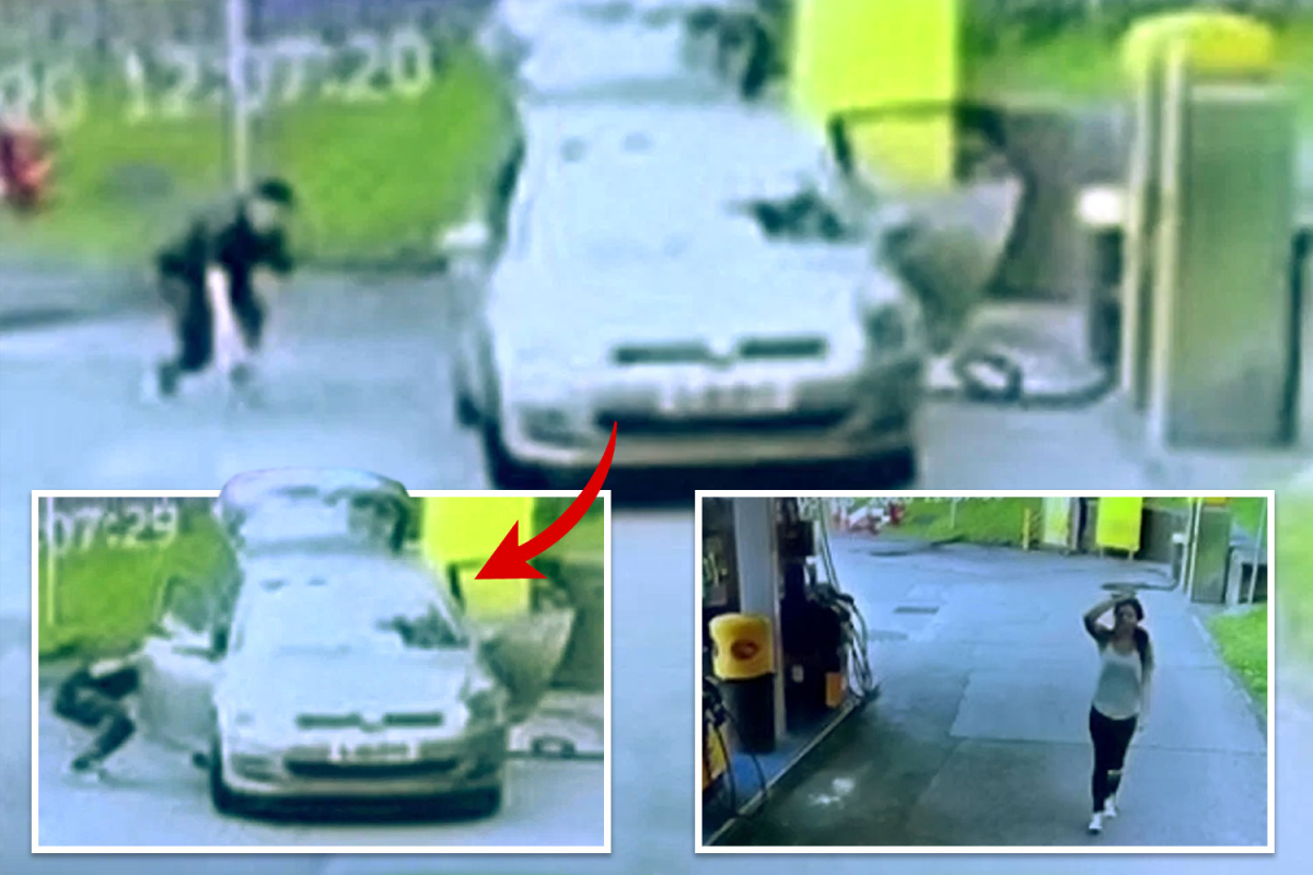 Carjacker filmed on CCTV stealing woman's VW Golf as she vacuumed car at petrol station