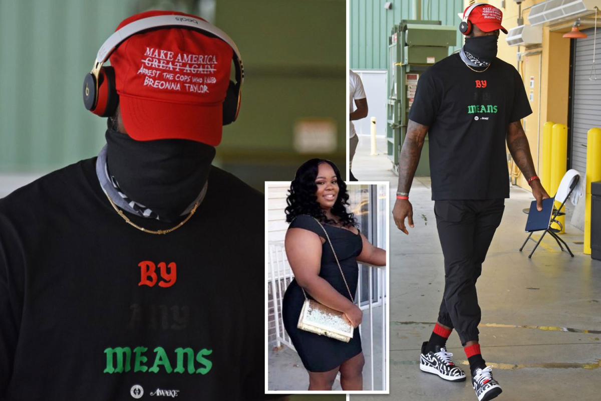 LeBron James wears fake MAGA hat in support of Breonna Taylor ahead of Portland Trail Blazers v LA Lakers playoff game