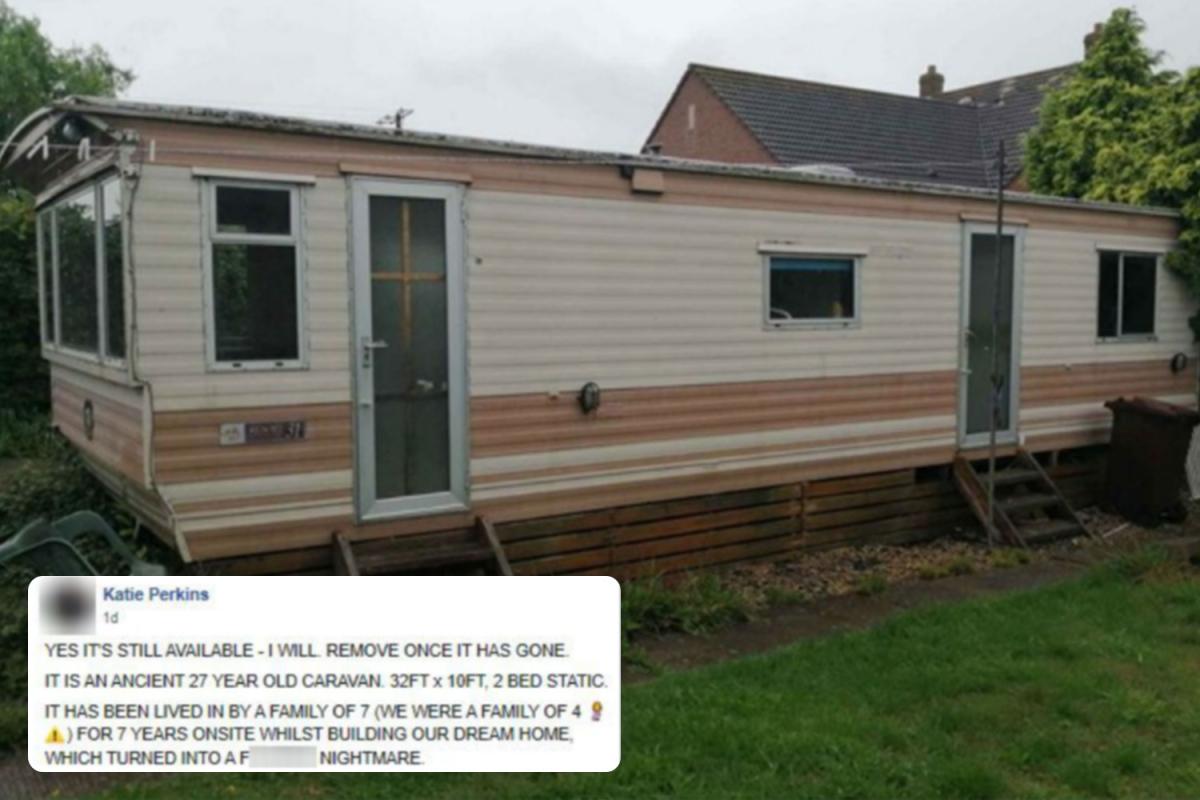 Mum posts brutally honest listing for £100 'f***ing monstrosity' of a caravan on Facebook Marketplace