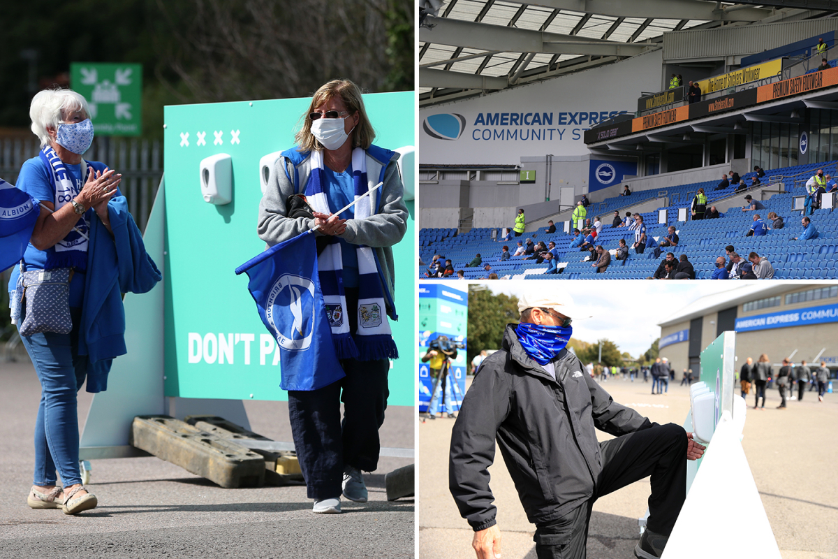Premier League fans RETURN for first time in five months as 2,500 supporters socially distance at Brighton vs Chelsea