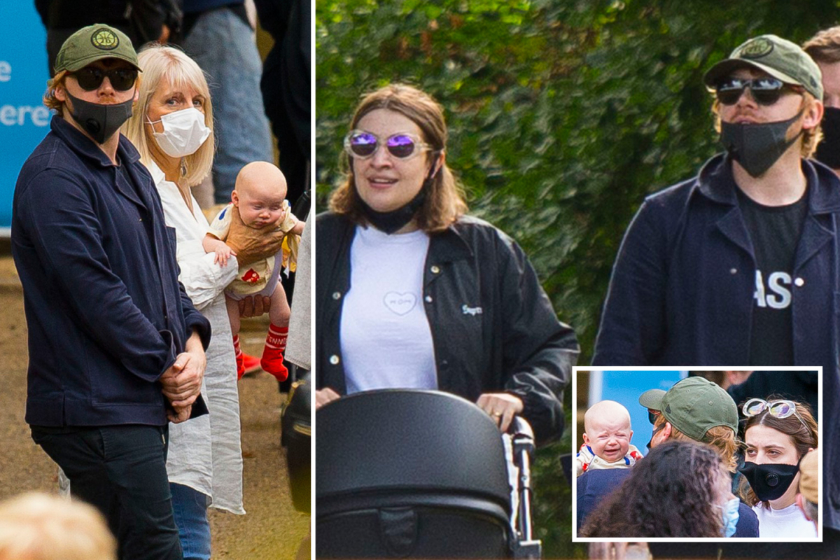 Rupert Grint steps out for sunny stroll with girlfriend Georgia Groome and new baby girl