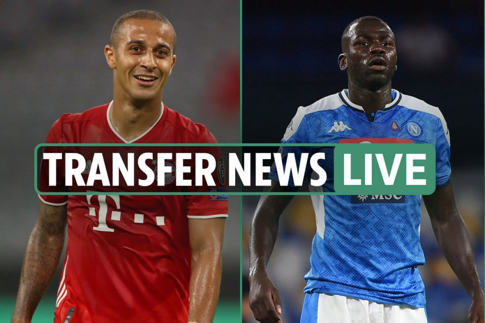 Transfer news LIVE: Liverpool get Thiago Alcantara boost from Bayern boss, Man City £57m Koulibaly bid – latest updates