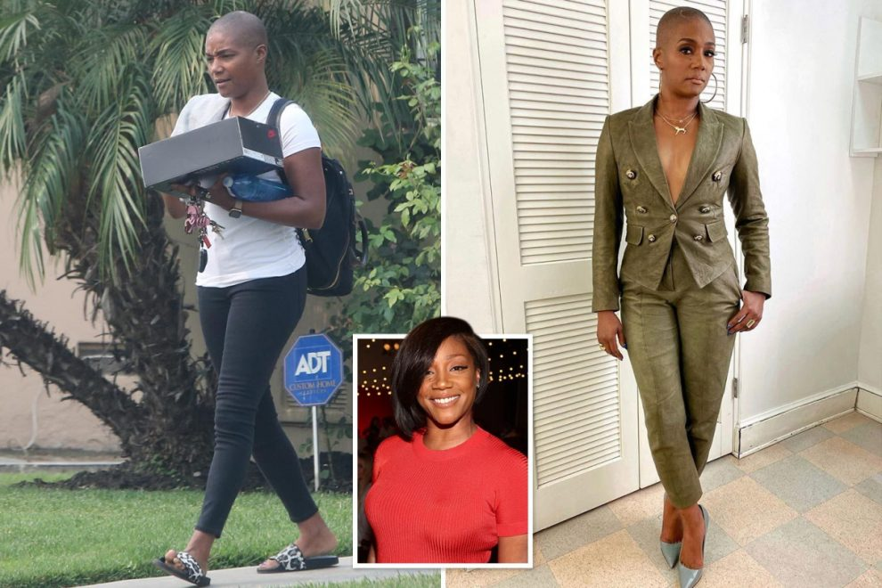 Tiffany Haddish shows off shaved head and weight loss in black leggings