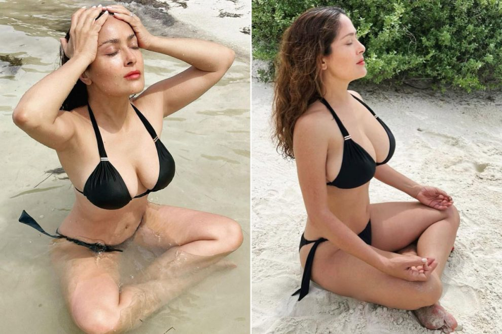 Salma Hayek, 54, flaunts cleavage in tiny bikini and says 'we need to keep our cool' as she continues to defy age