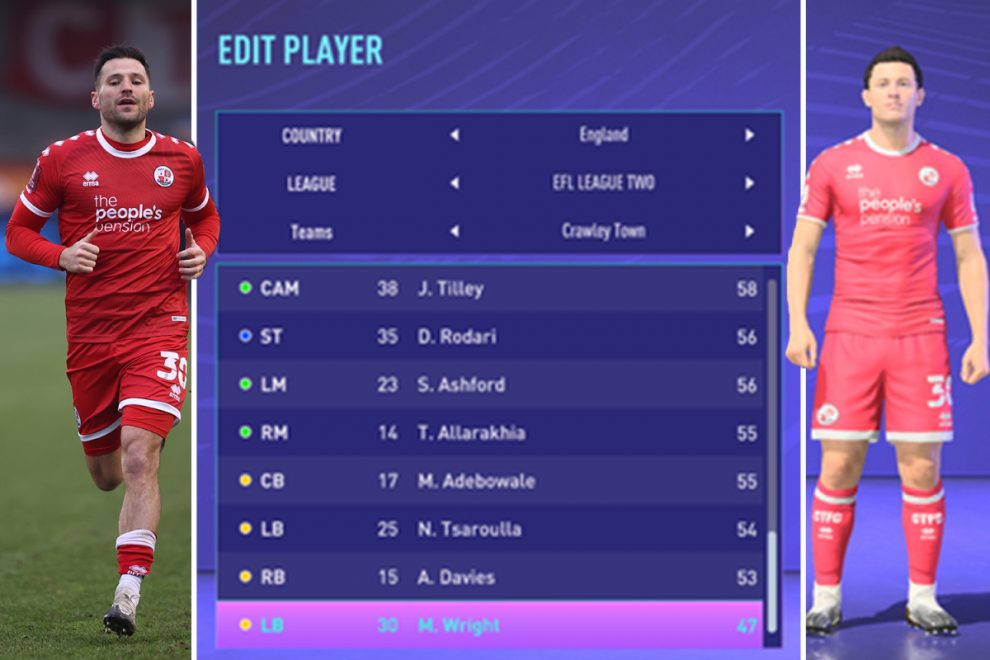 Towie star Mark Wright added to FIFA 21 with Crawley left-back officially the WORST player on the game