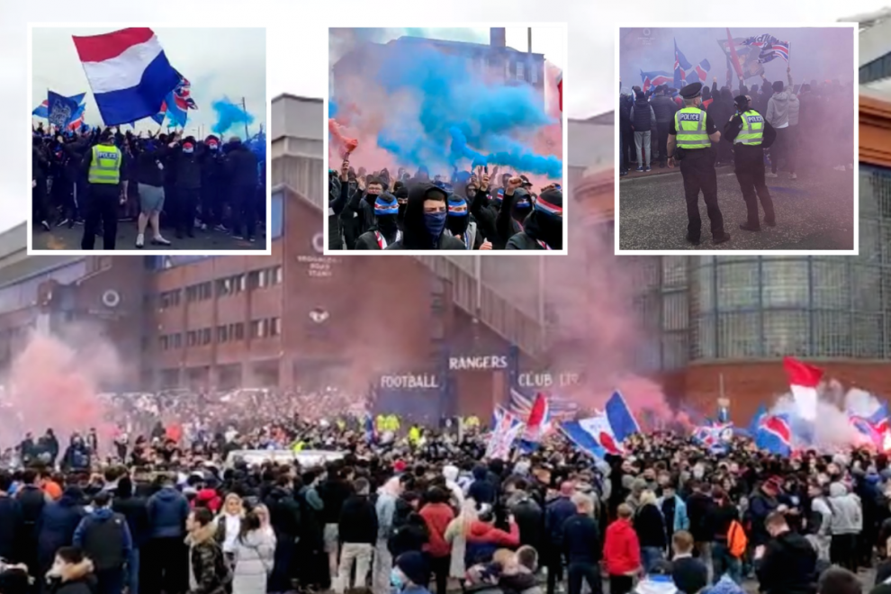 Thousands of wild Rangers fans break lockdown to gather outside Ibrox ahead of title party with flares and smoke bombs