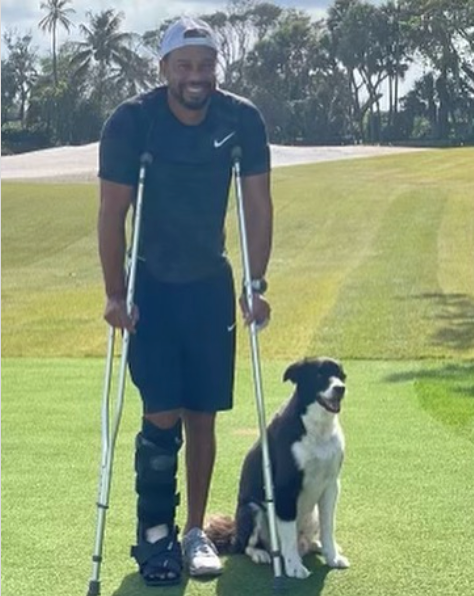 Golf legend Tiger Woods posts pic in leg brace with his dog on road to recovery after horror car crash