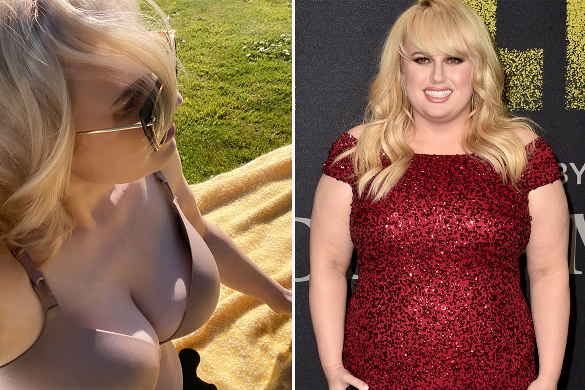 Rebel Wilson enjoys a shirtless sun tan at public park wearing only her bra after major weight loss