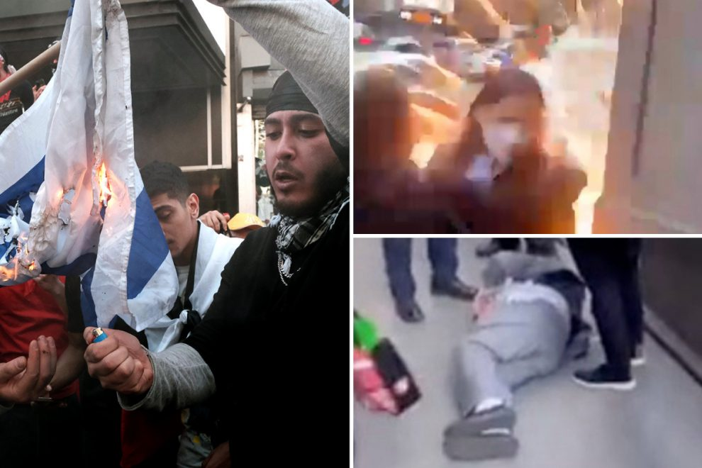 Pro-Palestine gang screams 'f**k Israel' at Israeli protesters as fireworks are hurled in Times Square leaving one hurt