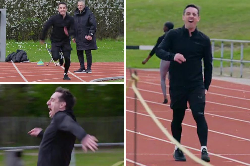 Watch Man Utd hero Gary Neville pull hamstring during race with Team GB's Tokyo 2020 Olympics star Dina Asher-Smith