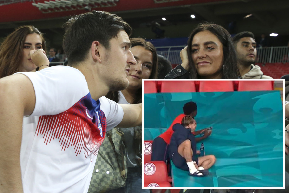 Watch Saka & Grealish do hilarious Maguire impression as they chat to friends after England reach Euro 2020 final