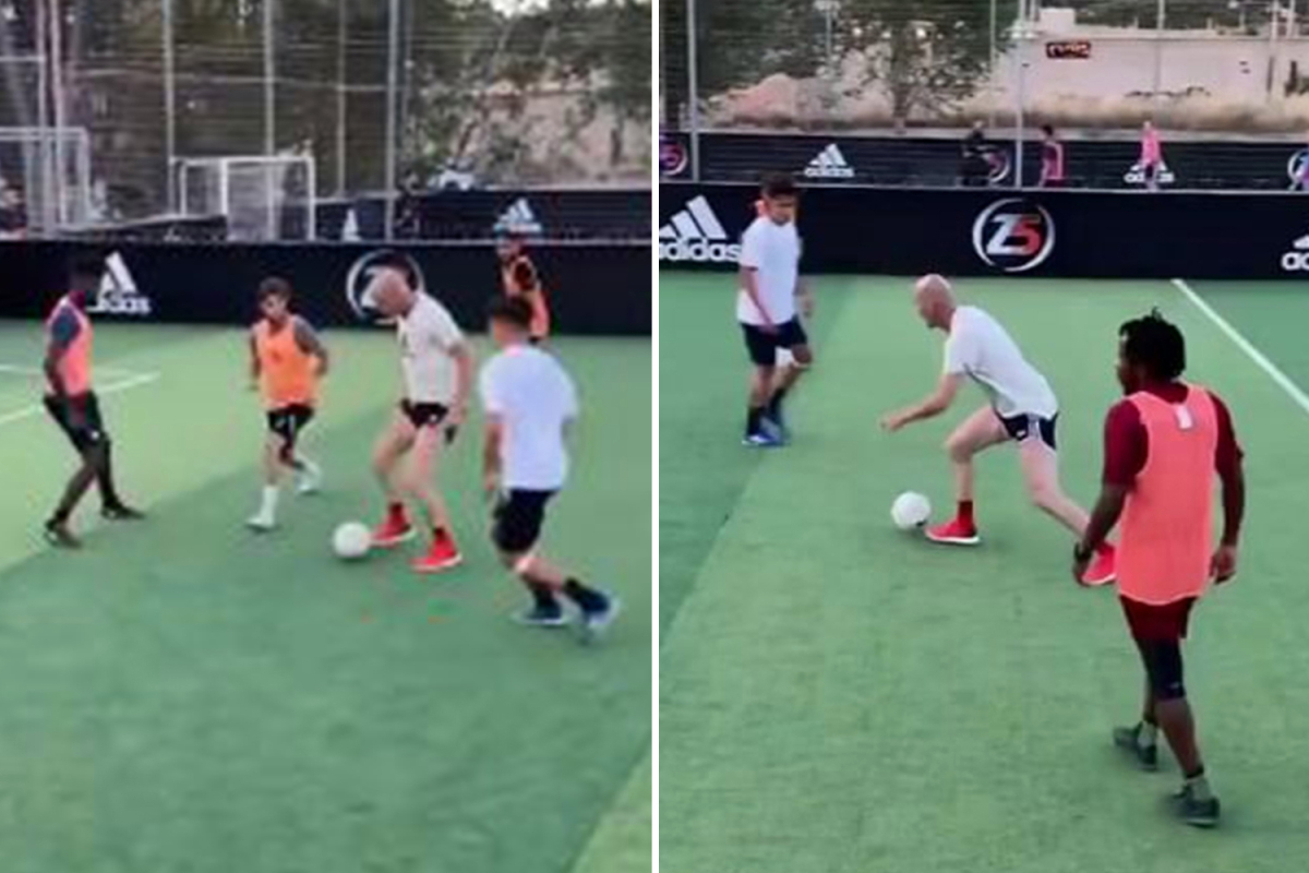 Watch Zinedine Zidane, 49, roll back the years in 5-a-side game with his sons after quitting Real Madrid