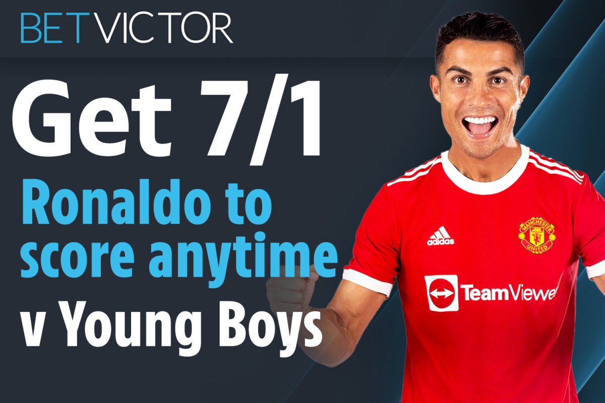 Bet up to £5 on Cristiano Ronaldo to score anytime against Young Boys at 7/1 in the Champions League