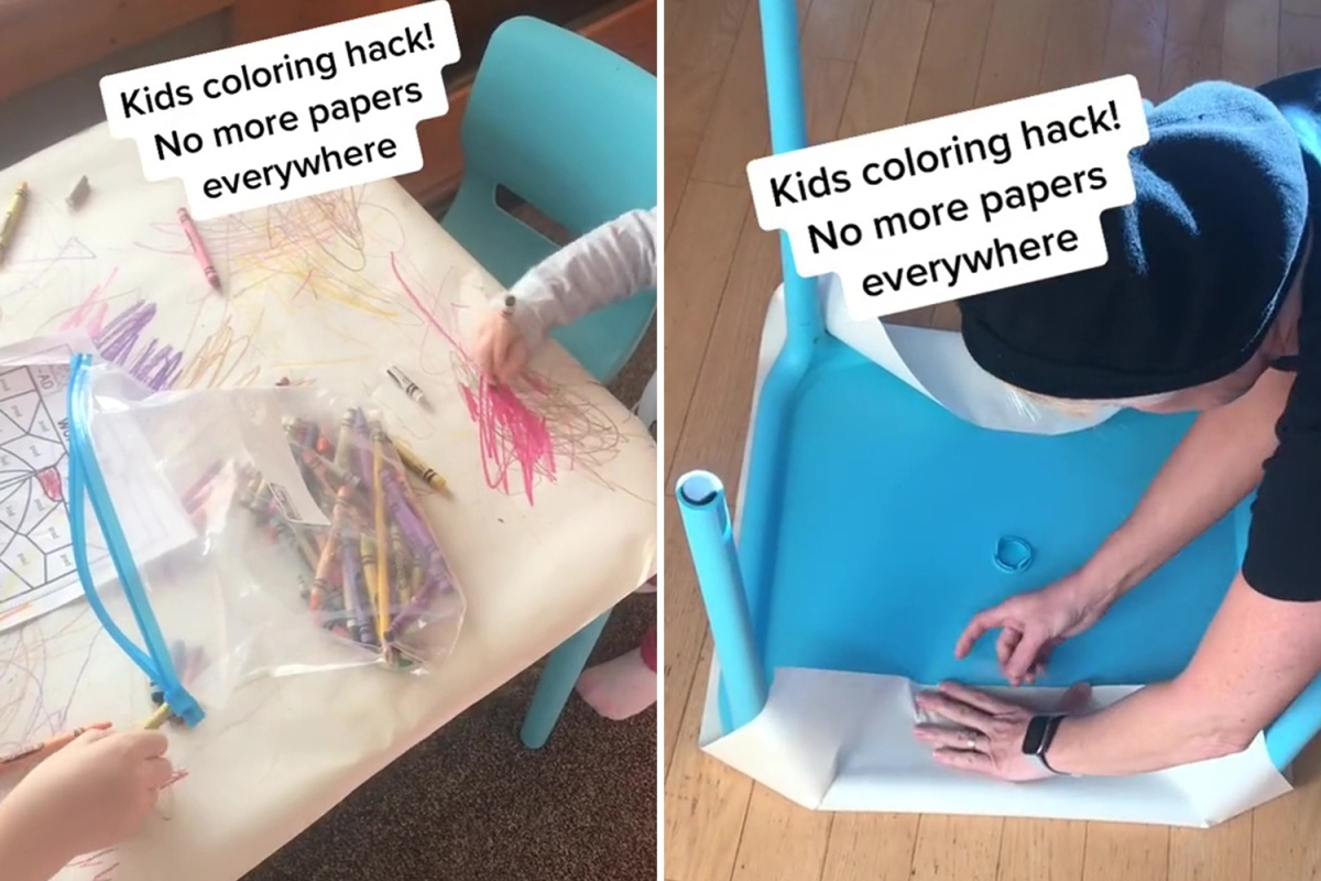 Mum shows the genius way she stops wasting paper when her kids want to colour – it'll stop your furniture being ruined